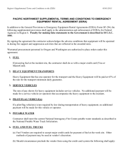 In addition to the General Provisions to Emergency Equipment Rental... PACIFIC NORTHWEST SUPPLEMENTAL TERMS AND CONDITIONS TO EMERGENCY