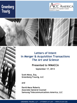 Letters of Intent in Merger & Acquisition Transactions The Art and Science