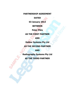 PARTNERSHIP AGREEMENT DATED 03 January 2013 BETWEEN