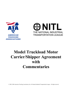 Model Truckload Motor Carrier/Shipper Agreement with