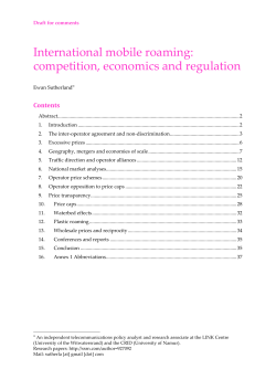 International mobile roaming: competition, economics and regulation Contents