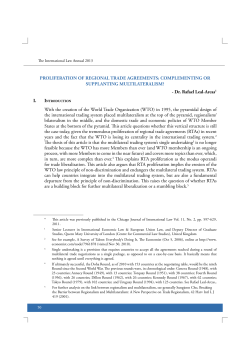 PROLIFERATION OF REGIONAL TRADE AGREEMENTS: COMPLEMENTING OR SUPPLANTING MULTILATERALISM?