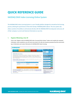 QUICK REFERENCE GUIDE NASDAQ OMX Index Licensing Online System