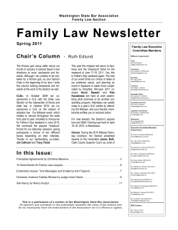 Family Law Newsletter Chair's Column  Spring 2011