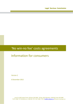 'No win‐no fee' costs agreements Information for consumers Version 2