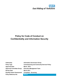 Policy for Code of Conduct on Confidentiality and Information Security