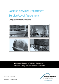 Campus Services Department Service Level Agreement Campus Services Operations