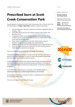 Prescribed burn at Scott Creek Conservation Park NEWS RELEASE