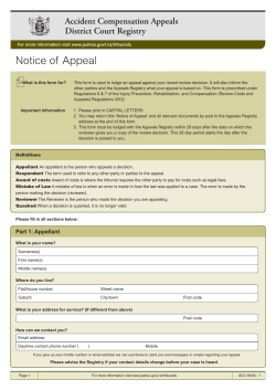 Notice of  Appeal Accident Compensation Appeals District Court Registry