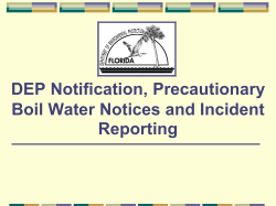 DEP Notification, Precautionary Boil Water Notices and Incident Reporting