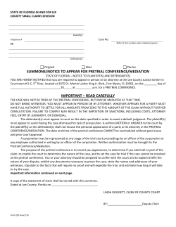 SUMMONS/NOTICE TO APPEAR FOR PRETRIAL CONFERENCE/MEDIATION