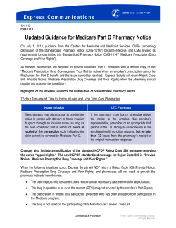 E x p r e s s   C... Updated Guidance for Medicare Part D Pharmacy Notice