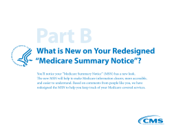 "Part B What is New on Your Redesigned ""Medicare Summary Notice""?"