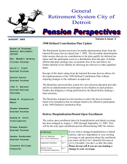 General Retirement System City of Detroit 1998 Defined Contribution Plan Update