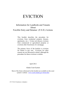 EVICTION  Information for Landlords and Tenants About