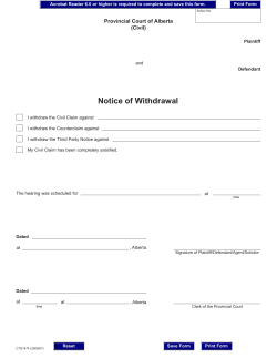 Notice of Withdrawal Provincial Court of Alberta (Civil)