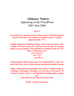 Obituary Notices Appearing in the FloydPress 2001 thru 2004 HELP