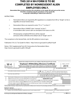 THIS 2014 W4 FORM IS TO BE COMPLETED BY NONRESIDENT ALIEN