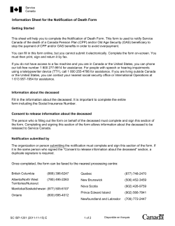 Information Sheet for the Notification of Death Form