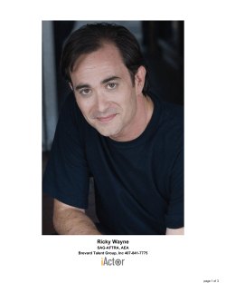 Ricky Wayne SAG-AFTRA, AEA Brevard Talent Group, Inc 407-841-7775 page 1 of 3