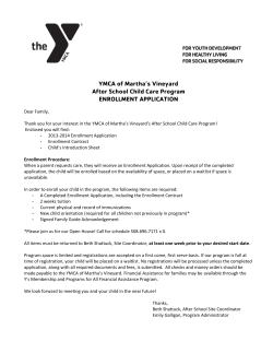 YMCA of Martha's Vineyard After School Child Care Program ENROLLMENT APPLICATION