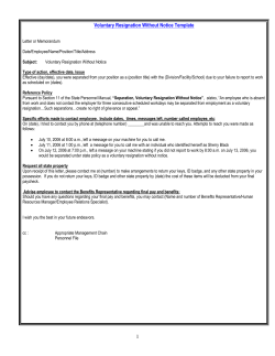 Voluntary Resignation Without Notice Template