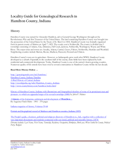 Locality Guide for Genealogical Research in Hamilton County, Indiana  History