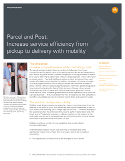 Parcel and Post: Increase service efficiency from pickup to delivery with mobility