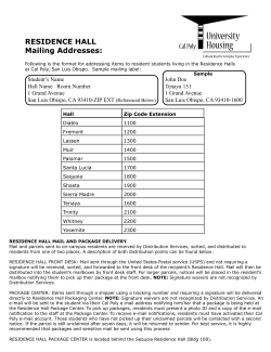 RESIDENCE HALL Mailing Addresses: