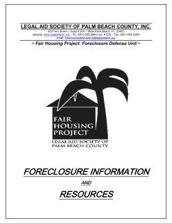 FORECLOSURE INFORMATION RESOURCES  LEGAL AID SOCIETY OF PALM BEACH COUNTY, INC.