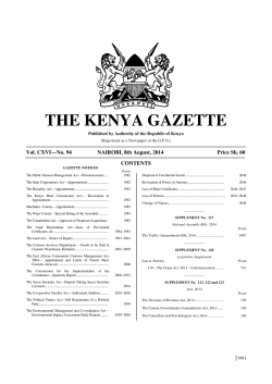 THE KENYA GAZETTE  Vol. CXVI—No. 94 NAIROBI, 8th August, 2014