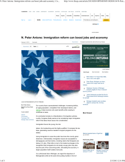 N. Peter Antone: Immigration reform can boost jobs and economy 1 2 A