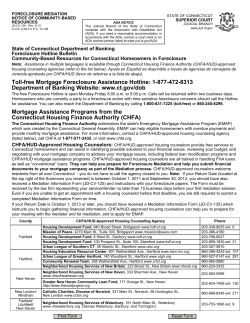 State of Connecticut Department of Banking Foreclosure Hotline Bulletin