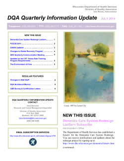 DQA Quarterly Information Update  JULY 2014