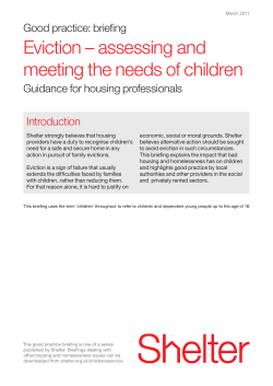 Eviction – assessing and meeting the needs of children Introduction Good practice: briefing