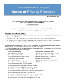 Notice of Privacy Practices Sarasota Memorial Health Care System