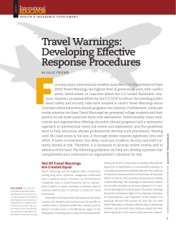 Travel Warnings: Developing Effective Response Procedures I