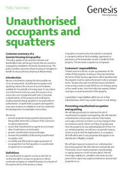 Unauthorised occupants and squatters Policy Summary