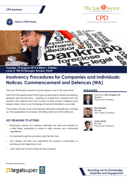 Insolvency Procedures for Companies and Individuals: Notices, Commencement and Defences (WA) 2