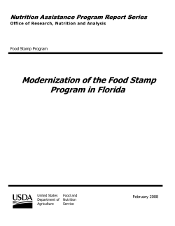 Modernization of the Food Stamp Program in Florida