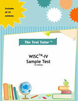 WISC -IV Sample Test The Test Tutor