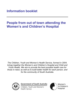 Information booklet  People from out of town attending the
