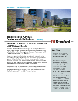 Texas Hospital Achieves Environmental Milestone FANWALL TECHNOLOGY Supports World's First