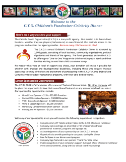 Welcome to the C.Y.O. Children's Fundraiser-Celebrity Dinner