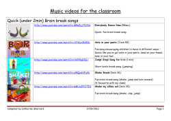 Music videos for the classroom Quick (under 2min) Brain break songs
