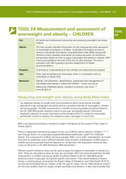 TOOL E4 Measurement and assessment of overweight and obesity – CHILDREN TOOL E4