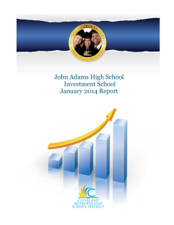 John Adams High School Investment School January 2014 Report