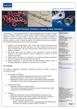 ASTM Publishes Children's Jewelry Safety Standard