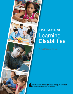Learning Disabilities The State of Third Edition, 2014