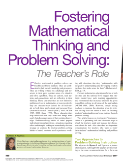 Fostering Mathematical Thinking and Problem Solving: